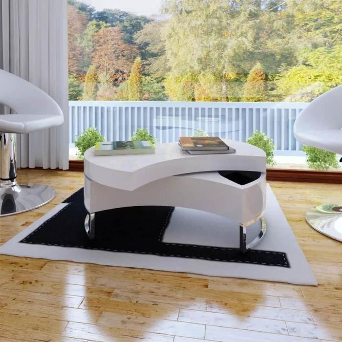 Moderne Table Basse Table A The Console Table De Salon Contemporain Scandinave A Forme Reglable Haute Brillance Blanc