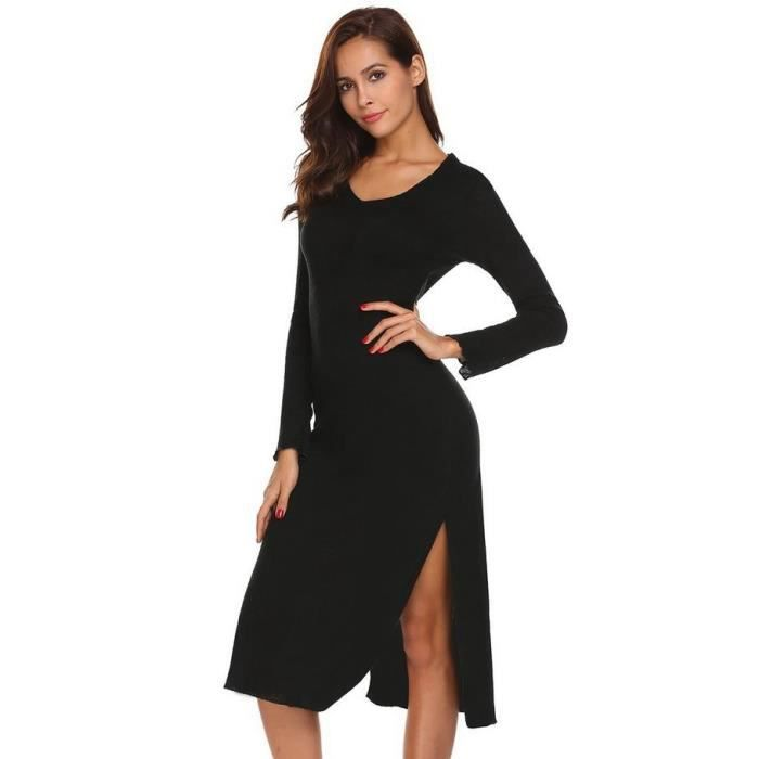 Robe soirée femme crayon rouge Casual col V manches longues Slim taille moulante