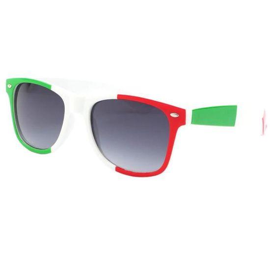 Lunettes de soleil Italie aux coloris Vert Blanc et Rouge - Lunette soelil  drapeau italien pour les supporters de foot, rugby... - Achat   Vente  lunettes de ... 03d9ad21c4b5