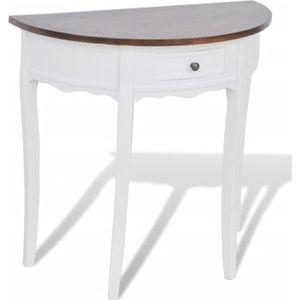 CONSOLE EXTENSIBLE Table console avec tiroir et dessus de table marro