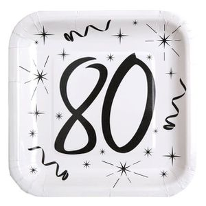 ASSIETTE JETABLE Assiette blanche anniversaire 80ans (x10) REF/5240