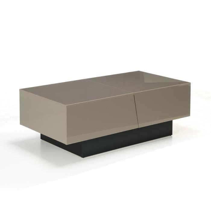 Pero Table basse taupe avec rangement pour bar intégré - Achat ...