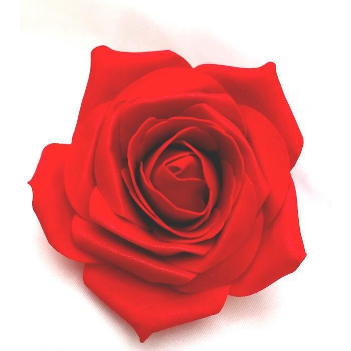 Femmes Rose Rouge Ouverte Artificielle Cheveux Fleur Clip