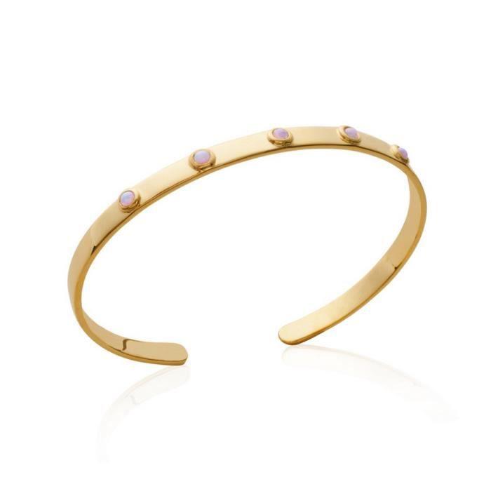 Bracelet jonc plat en plaqué or orné de 5 serti clos de pierres rose Ligne BONBON ROSE