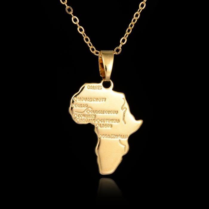 f2e750c3914 afrique carte femmes pendentif fille plaqué or 18k bijoux personnalisés  collier hommes accessoires