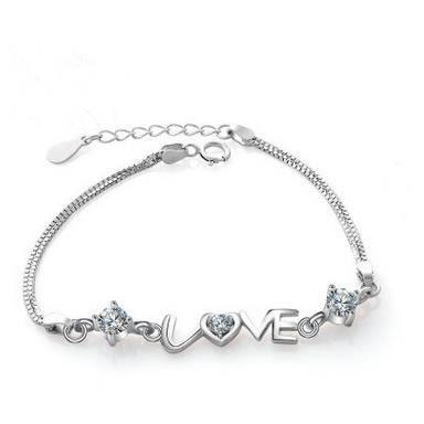 53749a2cb5de0 LOVE bracelet femme argent 925 plaqué or blanc