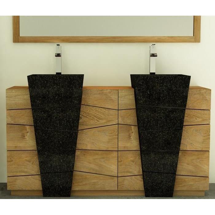 Meuble de salle de bain rhodes vasque noire l160 en teck - Achat ...