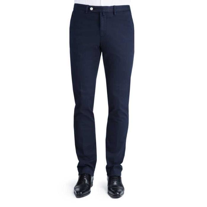 628d7c74dd6e3 Pantalon Homme ajusté en coton légèrement stretch 56 Bleu Marine ...