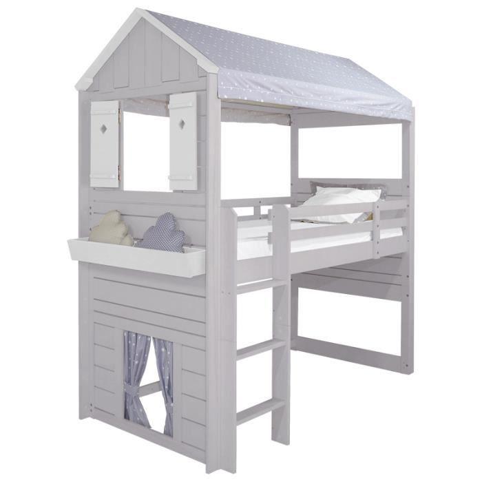 lit cabane enfant ciel de pluie et tissu gris achat vente lit combine lit cabane enfant. Black Bedroom Furniture Sets. Home Design Ideas