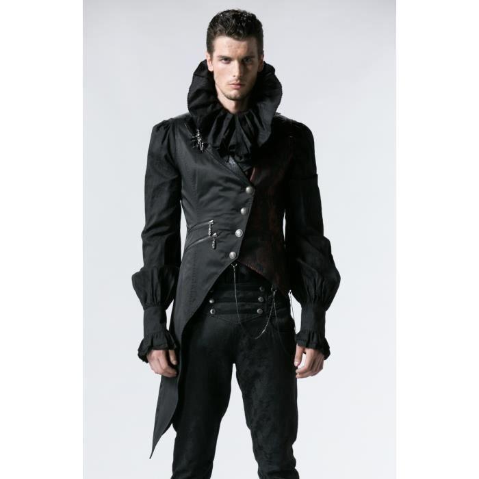 Manches Romantique Gothique Achat Noir Veste Homme Sans FI5qwx