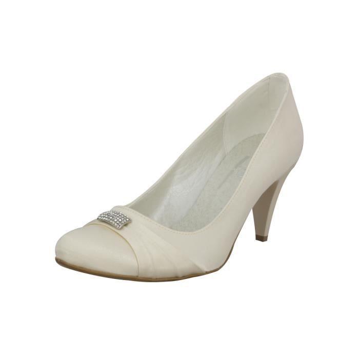 Chaussures de mariée satin et strass Ivoire -...