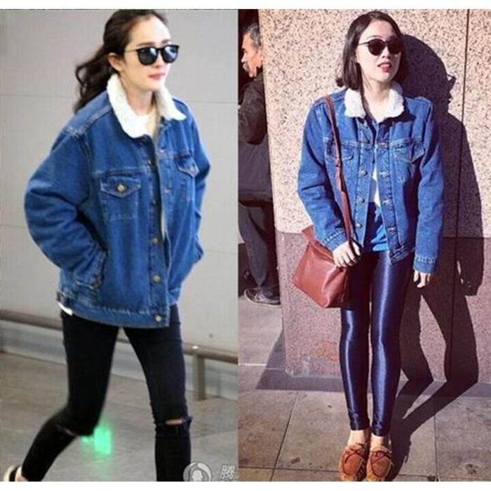 Veste en jean femme hiver