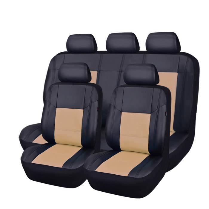 c1be0f42db0360 CAR PASS Housse siège auto universelle en cuir,11 pièces,Compatible  airbag,Noir Rouge