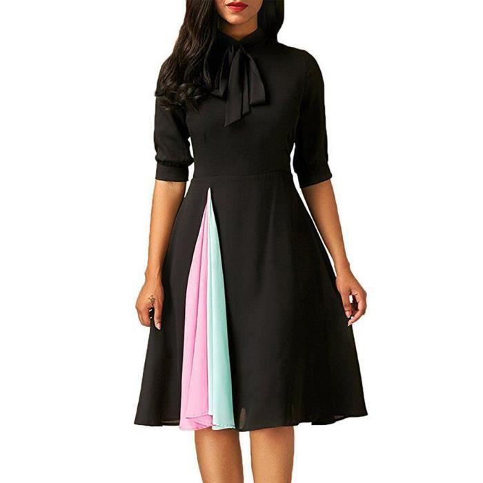 Napoulen®Femmes tenues Casual robe de soirée avec moitié manche NOIR-YHL71102181BK