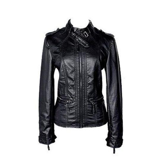 Pour Moto Blouson Femme Grande En Cuir Zippé Veste Jacket Pu w4xqxz