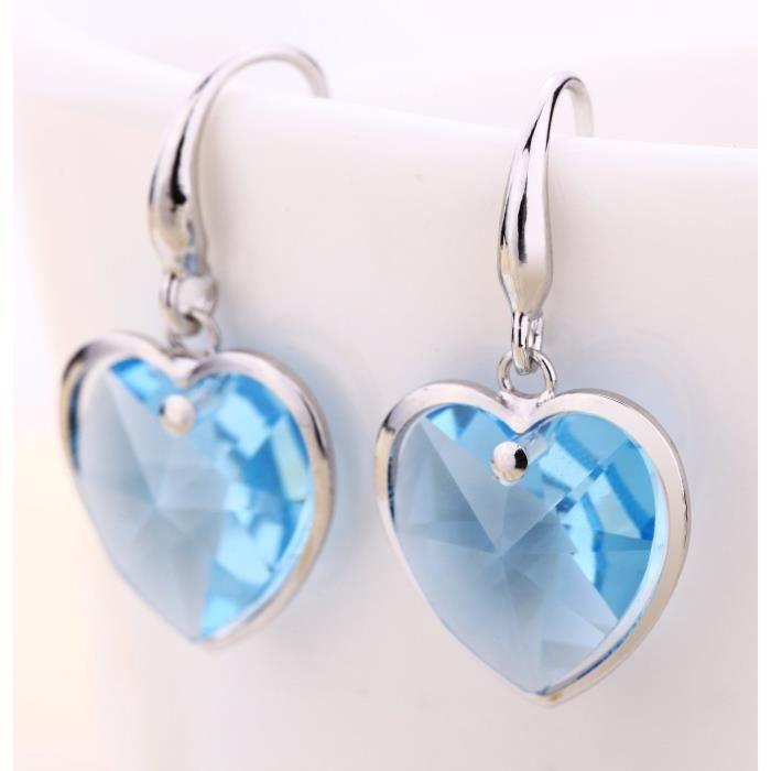 Swarovski Elets Femmes Ciel bleu Autriche cristal Dangle Coeur en forme de boucles doreilles pourMIXWC