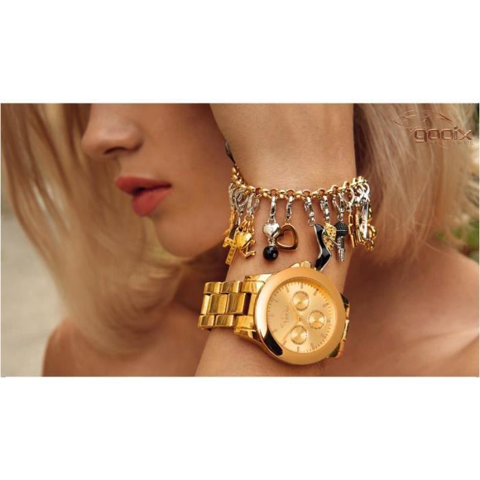 GOOIX - GOOIX GXC416 Femmes Charms Bracelet Acier inoxydable rosé 19 cm Réf 42896