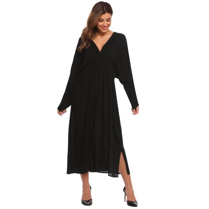 Femmes Robe plissée Col en V Bawting Manches Solid Elastic Waist Back Hole