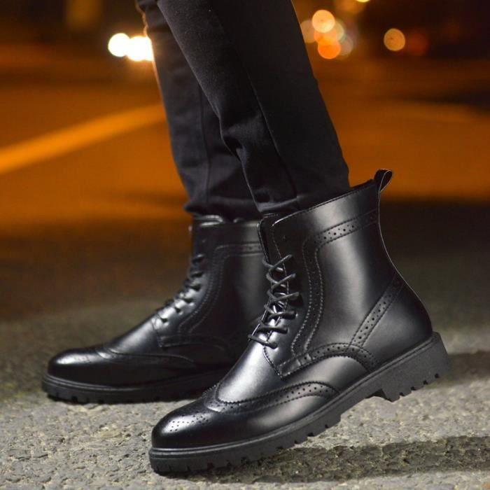 Botte Homme Haut-top Brogue hiver Vintage noir taille41