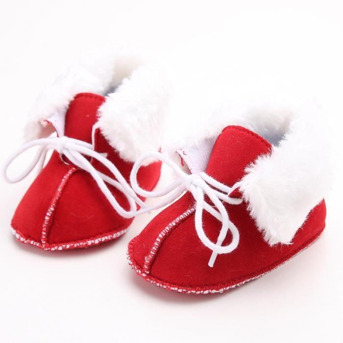 Rouge-Nouveau 0-1 ans bébé chaussures Hiver Fond mou Garde au chaud bébé Bottes de neige