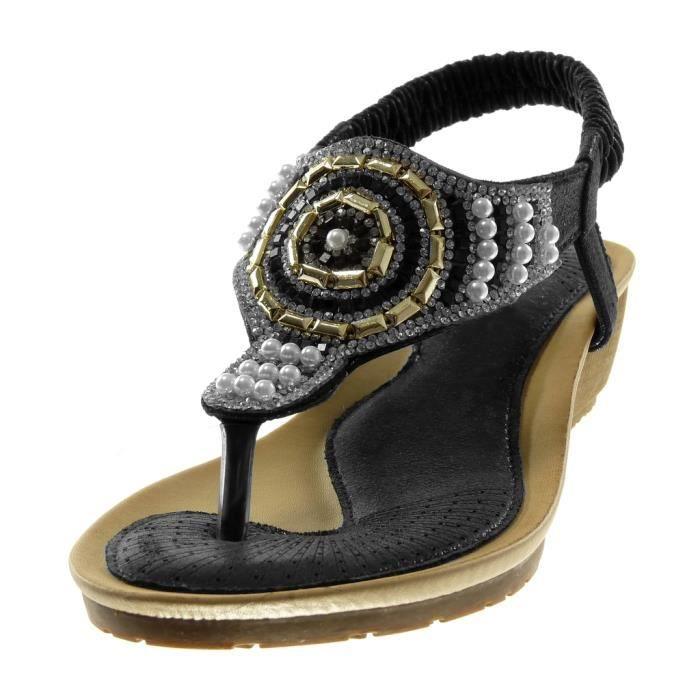 Angkorly - Chaussure Mode Sandale Tong slip-on salomés femme strass diamant perle Talon compensé 4.5 CM - Noir - L6130 T 36