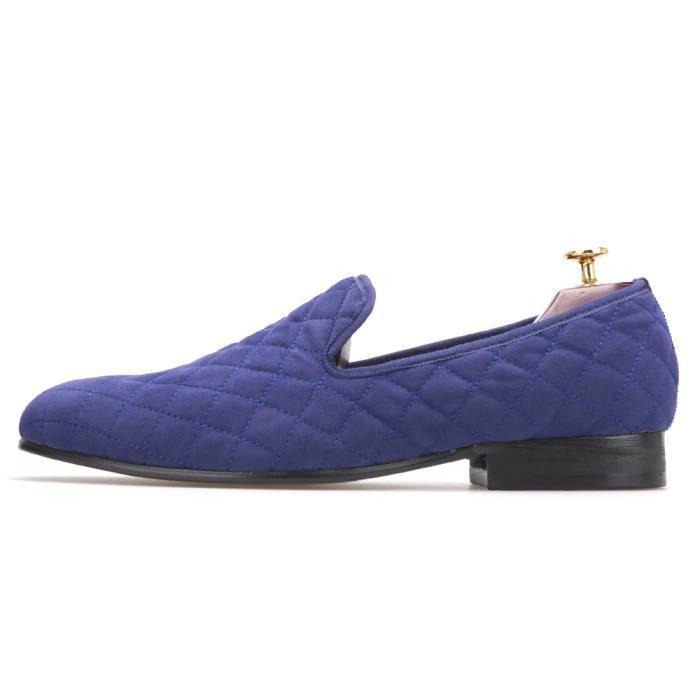 Hommes Blanc et Artesanat Chaussures Blue Velvet avec surpiqûre Plaid modèle britannique Fumer Chaussons Homme Chaussures Casual