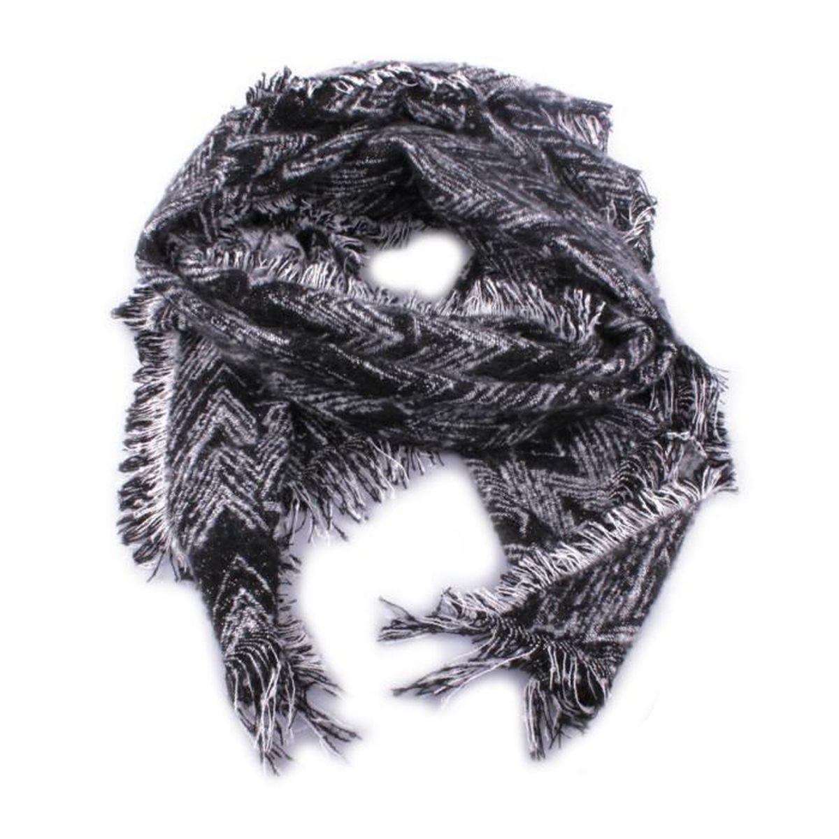 Grosse écharpe noire et blanche brillante Zebris Coindesfilles Noir ... 46b3ee08af7
