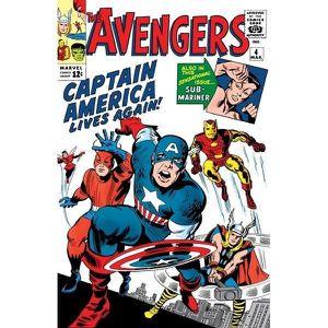 AFFICHE - POSTER Couverture Comics Marvel en Métal Brossé Avengers