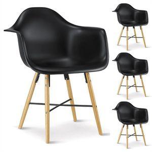 CHAISE Lot de 4 chaises EMILIO noires