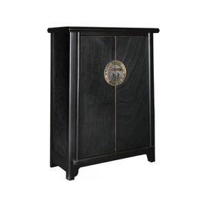 PETIT MEUBLE RANGEMENT  Meuble cabinet chinois 77x105 cm à 2 portes en boi