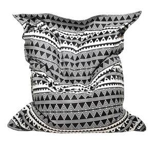 POUF - POIRE Maxi Coussin imprimé DJERBA 110x130cm - Noir