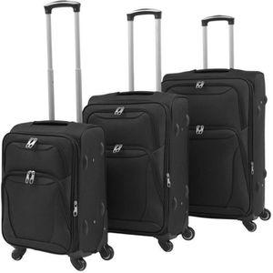 SET DE VALISES Ensemble de valises souples 3 pcs Noir