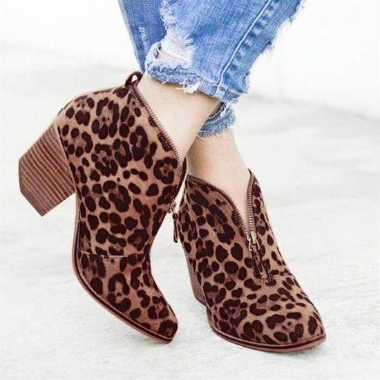 Femmes Chaussures pour femmes Mode cheville Leopard solide Zipper Martin Bootie Bottes courtes Marron Marron - Achat / Vente botte