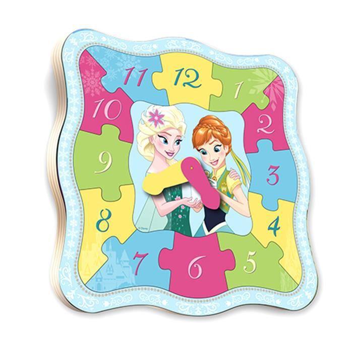 REINE DES NEIGES - Puzzle en bois 12 pièces forme horloge - Mixte - A partir de 24 mois - Livré à l'unitéPUZZLE