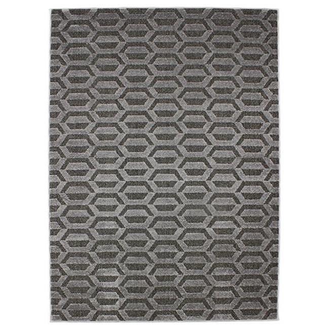 Séjour ou chambre - 133x190 cm - M - Motifs géométriques - Inspiration retro scandinave - GrisTAPIS - DESSOUS DE TAPIS