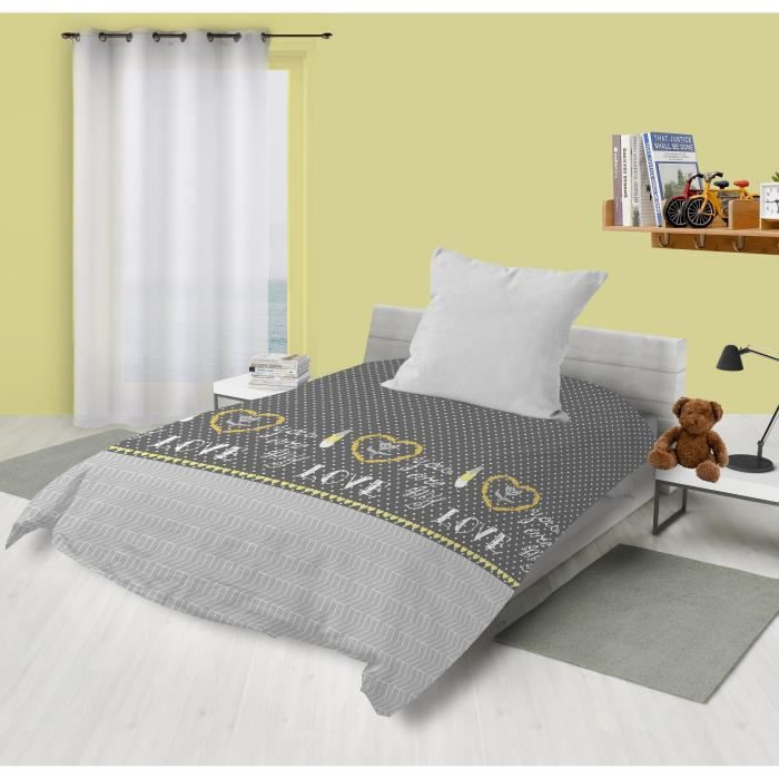 140x200cm - Microfibre 100% polyester - Garnissage 100% polyester - Gris - Lit 1 placeCOUETTE
