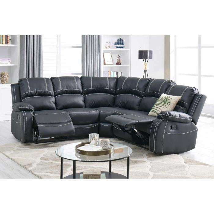 CANAPÉ DANGLE RELAX NOIR JOEY Achat Vente Canapé Sofa Divan - Canapé d angle relax