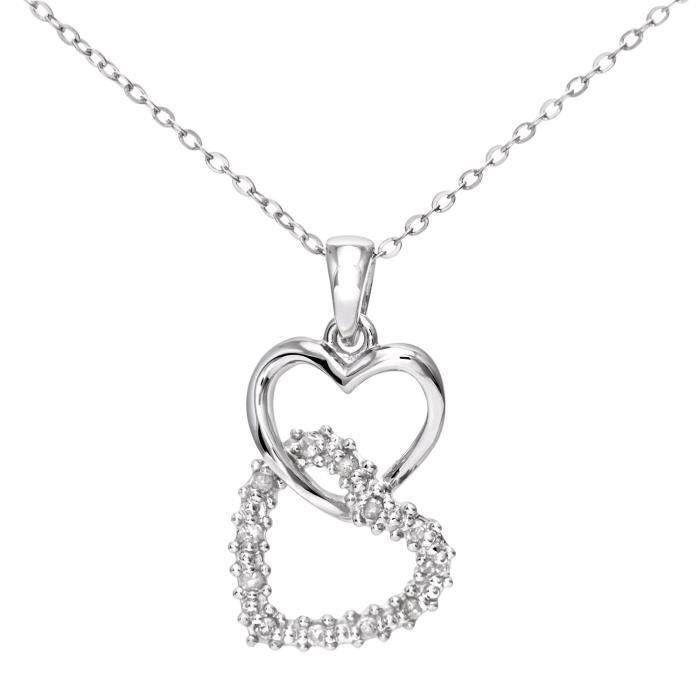Collier Femme Avec Pendentif - Coeur - Or Blanc 375-1000 (9 Cts) 1.1 Gr - Diamant Z8P0R