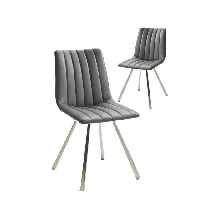 En Design Polyester Lot Acier 2 De Chaises Gris Avec Piètement BrdoeWCx