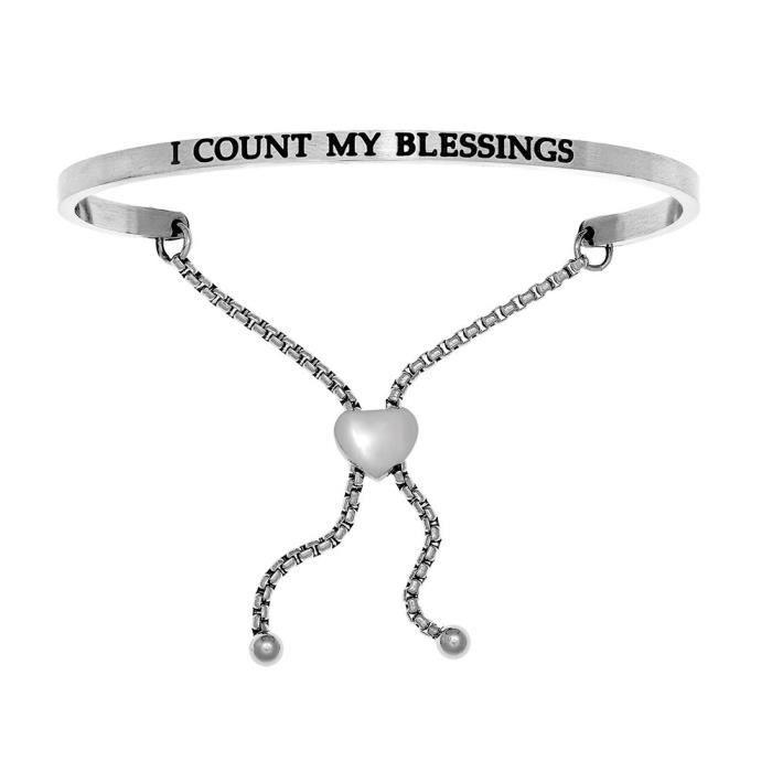 Intuition Femmes en acier inoxydable « Je compte mes bénédictions » Bracelet réglable Amitié XFCAM