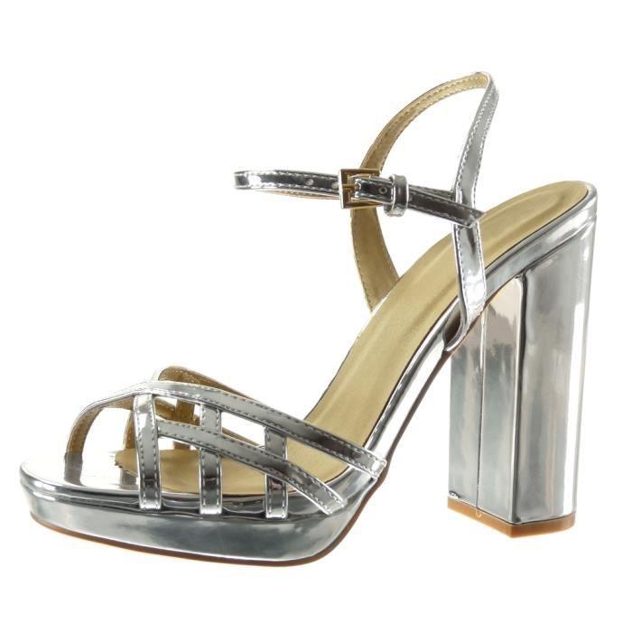 Angkorly - Chaussure Mode Sandale plateforme femme lanière multi-bride boucle Talon haut bloc 12 CM - Argent - JM-85