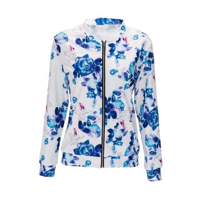 7a352aa7a918 À Floral Manches Veste Casual Longues Femmes Bleu Imprimé wFx1Ip