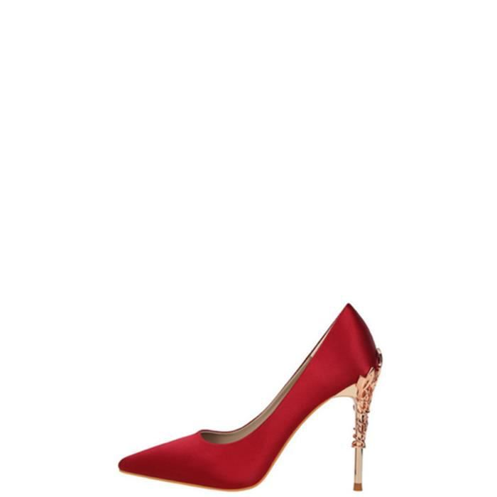 Escarpin Femmes Pompes Ladylike mince Heeled Cusp Parti de mariage solide Chaussures 5441460 EZuhi3V
