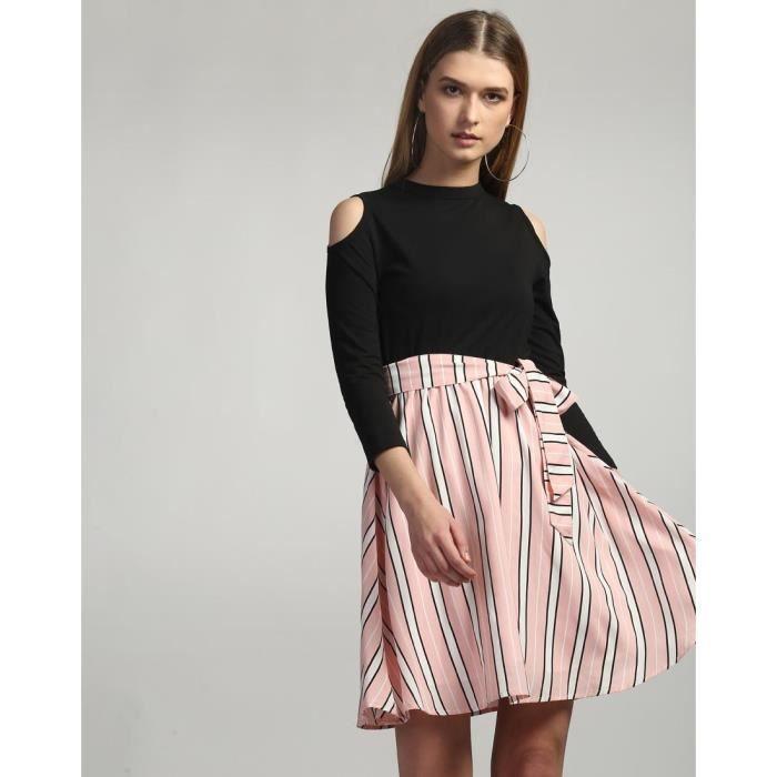 Trendtwo Emilia froide épaule de la femme nouée A-ligne de robe de coton rayé Mini Une ligne THU95 Taille-34