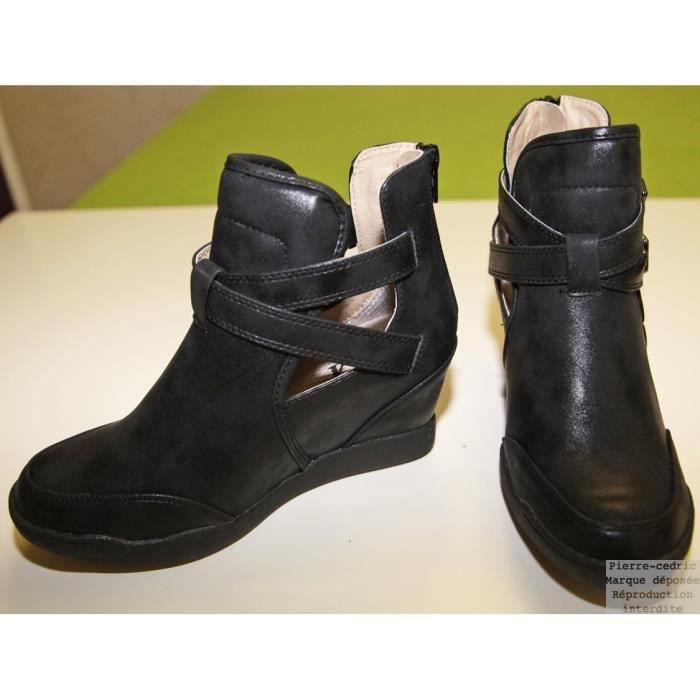 bottine boots femmes talons compens s ouverte noir. Black Bedroom Furniture Sets. Home Design Ideas