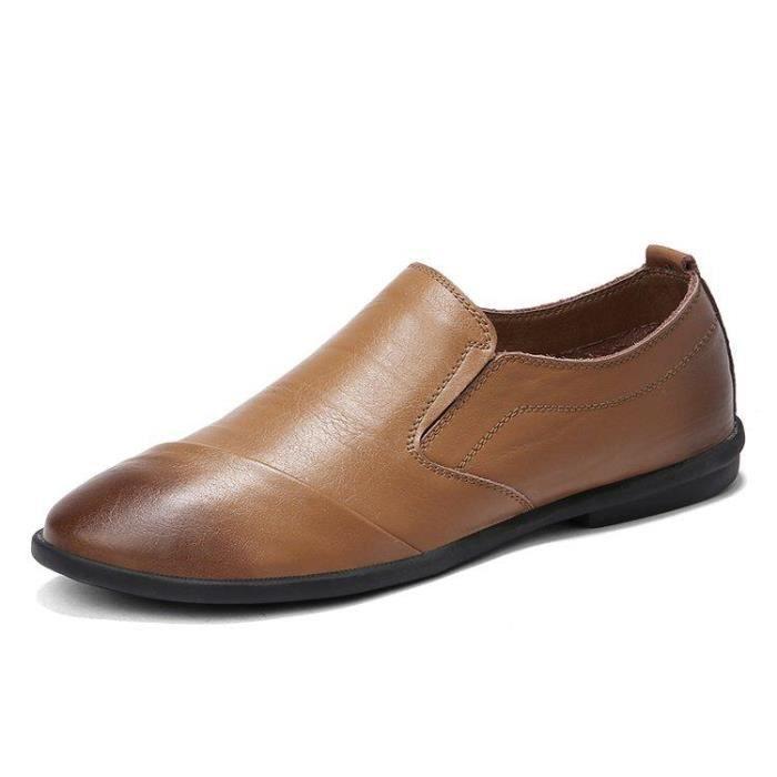 Chaussure De Ville Homme Souplesse D'Affaires Mode Compensé Slip-On Casual Maintien Et Respirabilité Dexterity Kaki 38 Uwq2eW1P4