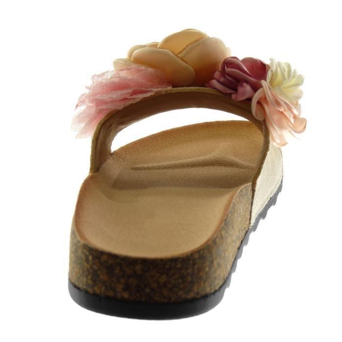 Mule Femme Fantaisie Chaussure Slipon Sandale Fleurs Angkorly Mode qS4O7qt