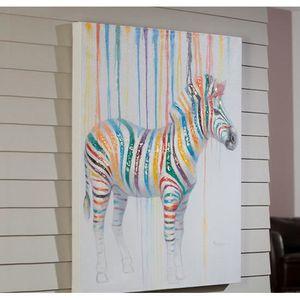 Peinture Sur Toile Zebre 100x80 Cm Achat Vente Tableau Toile