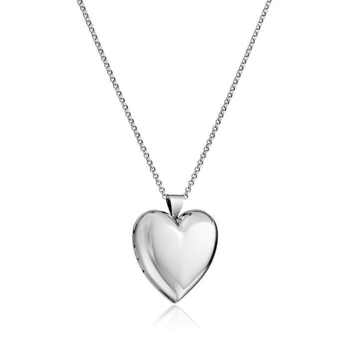 e5b30d394647 Jewel Panda Collier en argent sterling pendentif coeur médaillon, 30