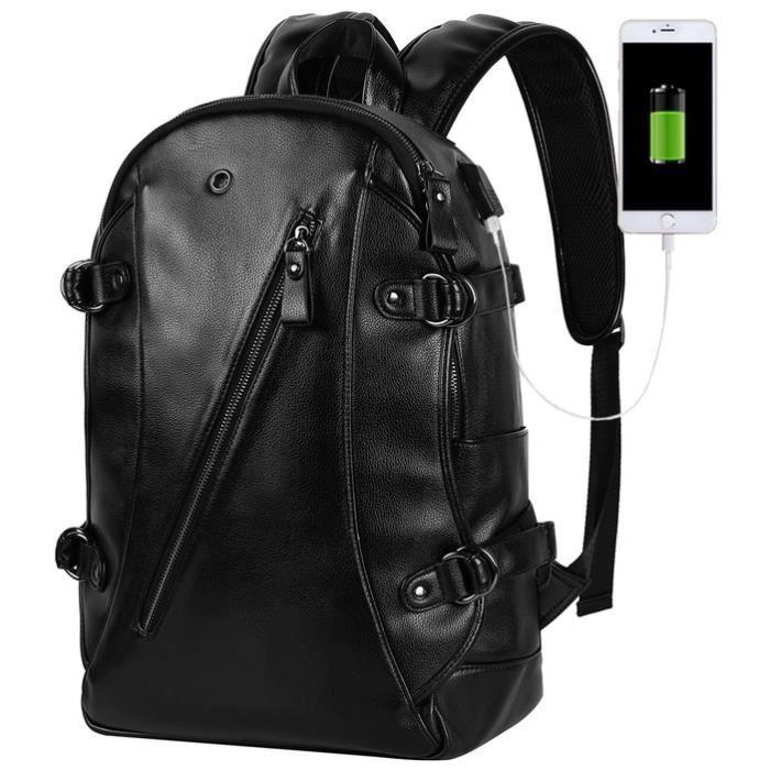Hommes Sac à dos pour ordinateur portable avec câble USB, noir